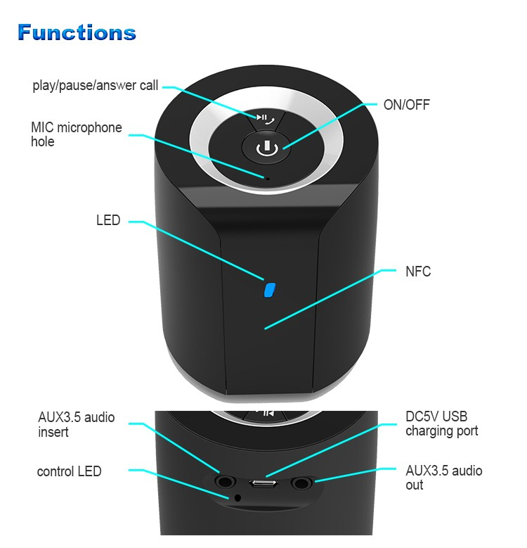 Gadgets 2017 Newest Portable Wireless Bluetooth Mini Speaker, OEM Cute Computer Speaker home theater