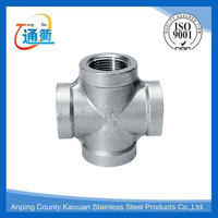 black cast iron screw pipe fitting cross four way tee pipe fitting