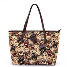 3201-Hot sale printing canvas lady tote handbag, fashion handbag teddy bear