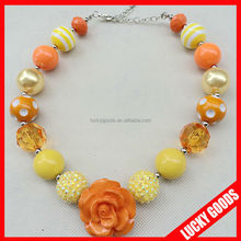 latest design orange resin rose Flower Necklace wholesale