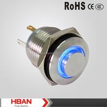 CE ROHS mini waterproof illuminated push button switch