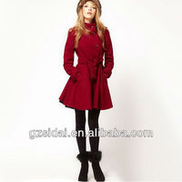 Latest desgins red wool lady winter coat