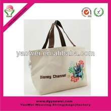 2015 hot sell high quality 280g white standard size printed cotton canvas bag