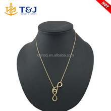 hottest gun color gold plated double infinity 8 pendants lariat necklace for women /