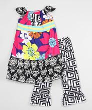2016 Fashionable Black Floral Tunic Ruffle Pants Girls Costume Beautiful Children Clothing Z-CS80726-(31)