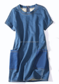 2015 lo último popular para mujer corta falda de jean cuello redondo manga corta denim patrón de la falda