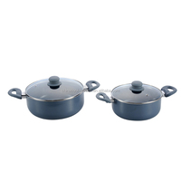 Newly pressing aluminum non-stick cooking pot with glass lid for sale
