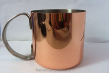 330ml Moscow mule, copper plated mug, Stainless steel beer mug