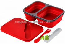 Convenient collapsible rectangle sealed lunch box with cutlery set,Food grade silicone lunch box with cutlery set