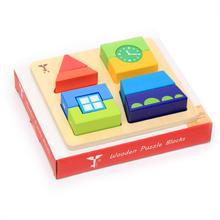 Montessori juguetes de madera del reloj torre niños juegos educativos bloques de construcción del rompecabezas para venta al por mayor