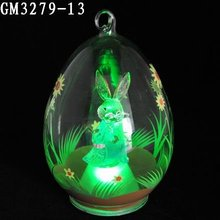 Popular glass easter rabbit egg with led ligh or glass craft