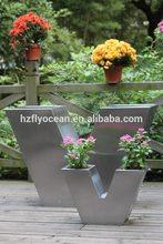 Fo-9029 v- tipo de acero inoxidable jardín de flores de contenedores
