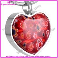 IJD8470 Heart shape murano stone jewelry price cremation ash urn pendant