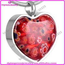 Ijd8470 forma del corazón de murano de la joyería de piedra precio de cenizas de cremación urna colgante