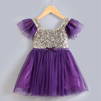 2015 summer style sequined girl dresses for party for 2-6 year old