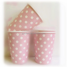 8oz Disposable Pink Polka Dot Party Paper Coffee Cups