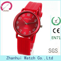 Hottest Red simple silicone watch band for lady