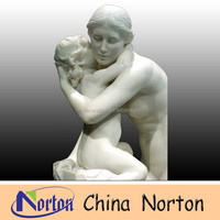 white marble female and child nude sculpture NTMS398S