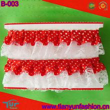 white dots satin ribbon nylon ruffled lace for garment decoration