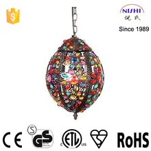 Trade assurance handmade antique mental candle moroccan lantern with colorful jewel (NS-124026)