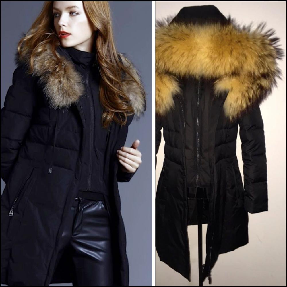 2017 2018 nouveaux mod les de mode femme hiver manteau avec grande fourrure de raton laveur. Black Bedroom Furniture Sets. Home Design Ideas