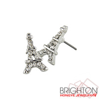 Rhinestone Eiffel Tower Stud Earrings E2-18956-A
