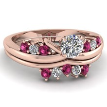 round cut rose and white diamond 2PC/set engagement ring jewlry in rose gold gold