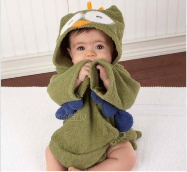 2015 new Baby Boy/Girl Dressing Gown Splash Wrap Bath Hooded Towel Robe 0-12M