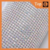 3MM Sliver Aluminum Rhinestone Mesh Rhinestone Sheet For Decoration