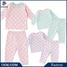2PCS 100% Cotton High Quality Baby Frock Designs Pastel Polka Dot Kids Pajamas New Born Girls Baby Clothes