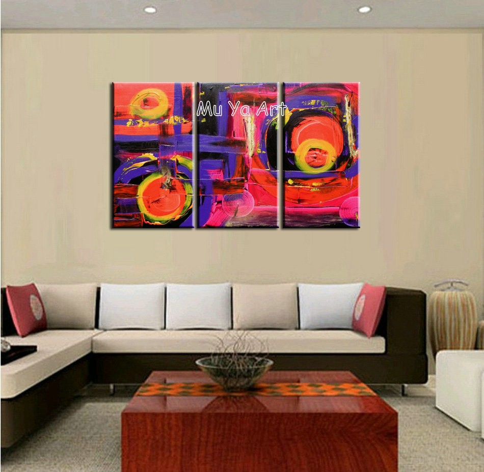 Buy 3 piece muti panel Abstract modern canvas wall art decorative knife handmade oil painting on canvas living room home decoration cheap