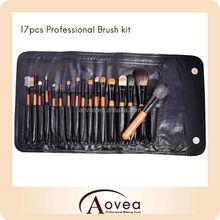 Top-quality 17 Pcs Foundation Blending Blush Eyeliner Face Powder Synthetic Kabuki Cosmetics Makeup Brush Kit with bag black
