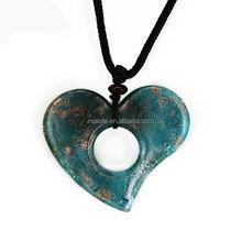 hot sale heart shape murano glass pendant 2015 Lampwork murano glass, factory murano glass pendants,polychrome jewelry