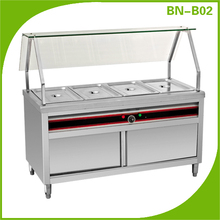 Hotel buffet kitchen supplies Electric bain marie food warmer with curved glass shelf BN-B01