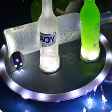 For birthday party use flashing led sticker for cup and bottle white light coaster