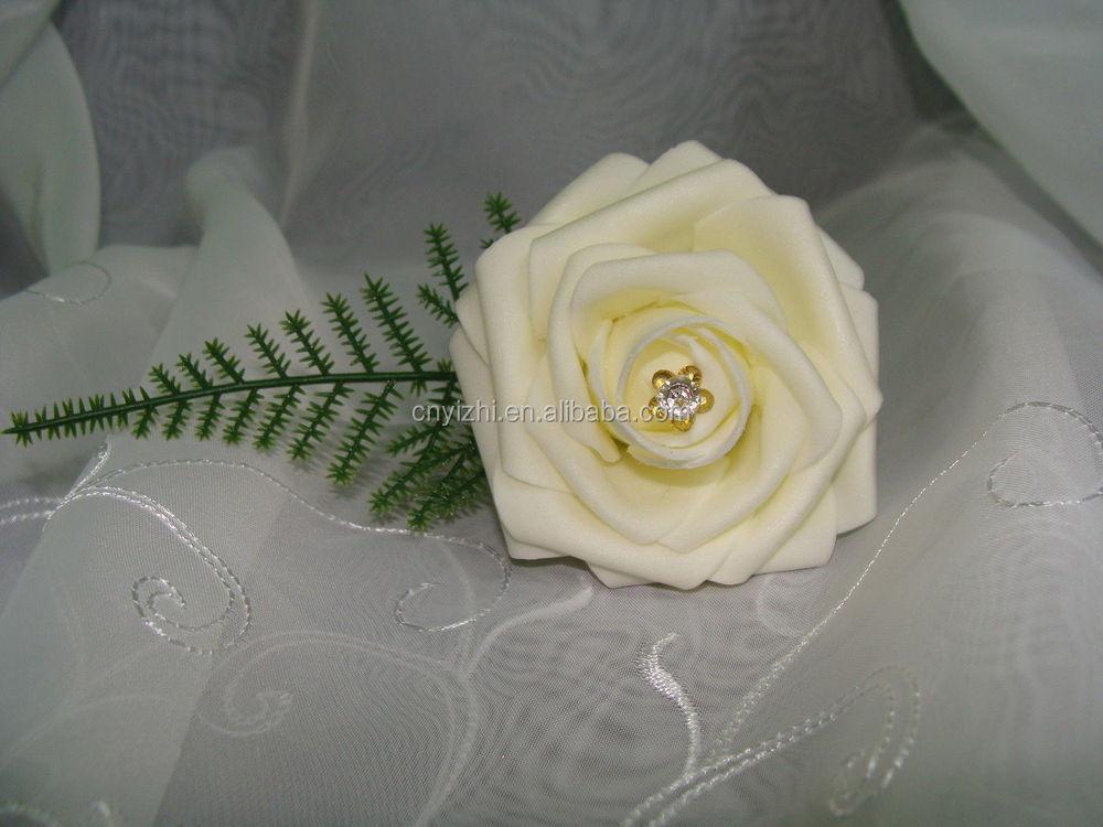 Single white foam flower rose corsage different color crystal single white foam flower rose corsage mightylinksfo