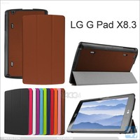 New hottest and elegant popular three folding design luxury folio stand leather case for LG G Pad X 8.3