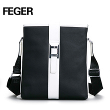 Cow Leather Genuine Messenger Bag Contrast Laptop Shoulder Bags
