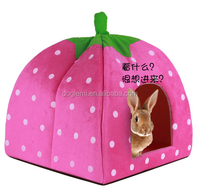 2015 Hot Selling Cat Dog Puppy Pet Warm Strawberry Bed House Tent For Winter POLAR RABBIT PYRAMID HUT KENNEL L Sizes
