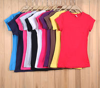 ladies hot sell pure color blank stretch cotton T-shirt
