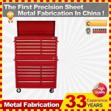 Rolling Aluminium Profile Handle tool box and top chest with 16 drawers