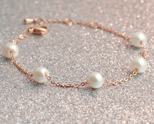 2015 Guangzhou cheap fashion jewelry, rose gold pearl stainless steel o chain bracelect