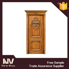 China luxury interior teak solid hand carved wood door models
