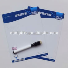 2015 Customized promotional A5 or A6 paper size magnetic whiteboard with mark pen from factory of alibaba China