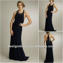 New Design Black Sexy Halter Beaded Long Evening Dress Party Gowns