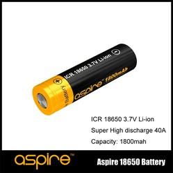 Aspire 18650 battery--High Performance Rechargeable Aspire ICR 18650 1800mAh Li-ion Battery - 40A