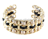fashion new product jewelry Chain Link Stack Cuff Bangle with Leather Weave