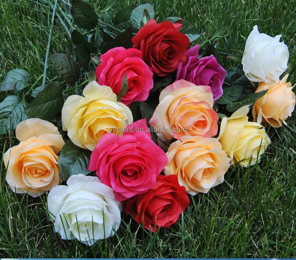 Valentines Day Cheap Rose Flower Artificial Velvet Rose Flower