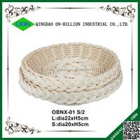 White hand woven tray PP rattan basket for fruit bread