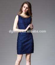 Sin mangas azul con lentejuelas cubierta de encaje bordado mujeres vestido